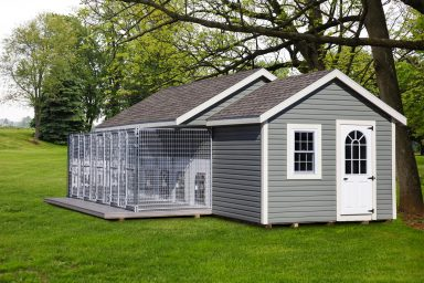 large outdoor dog kennel with roof