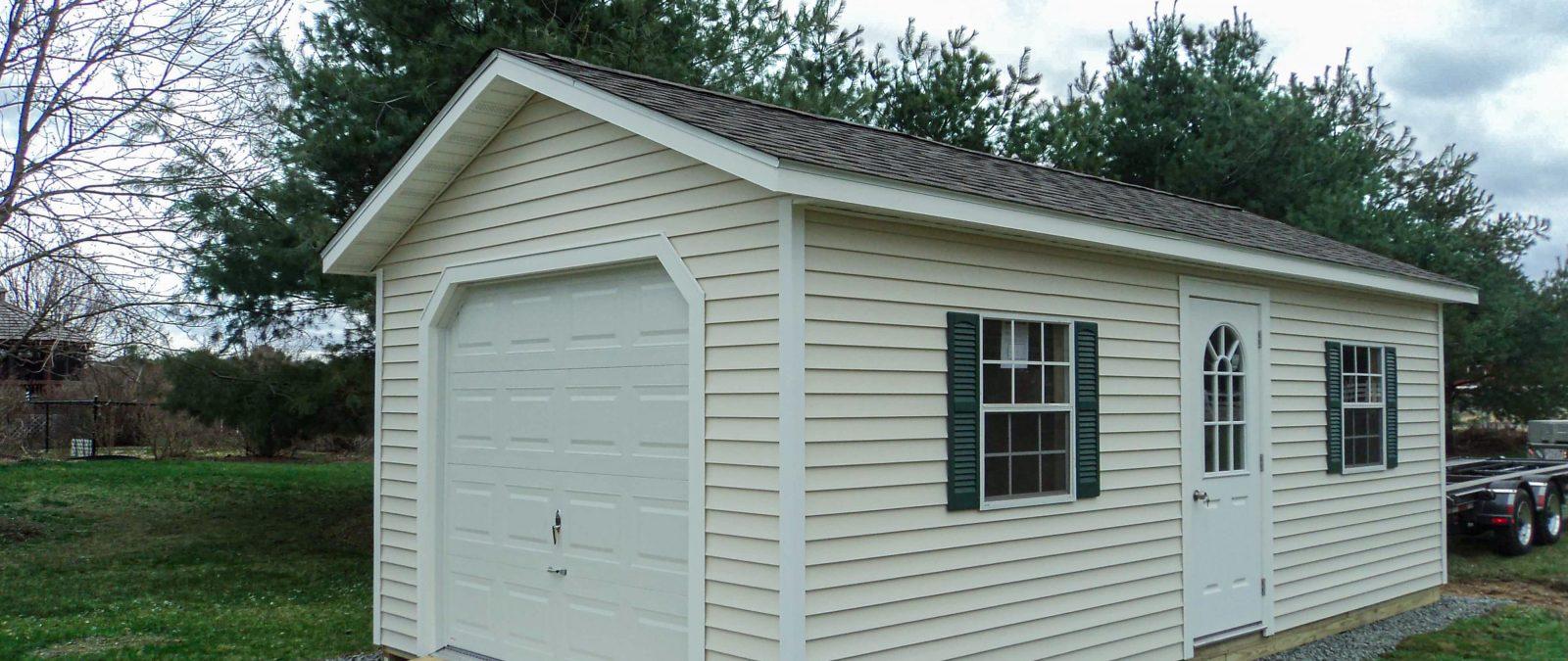 vinyl one car garage
